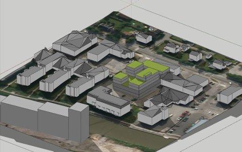 SKEPTISK: Dette leilighetsprosjektet (bygningene med grønne tak) planlegges på parkeringsplassen bak Slevik Elektriske. Østfold fylkeskommune er imidlertid skeptisk til at alt uteoppholdsarealet legges på tak og balkonger og ikke på bakkeplan. Foto: 3D-illustrasjon av Rambøll og siv.ark. Tom-Richard Kristiansen