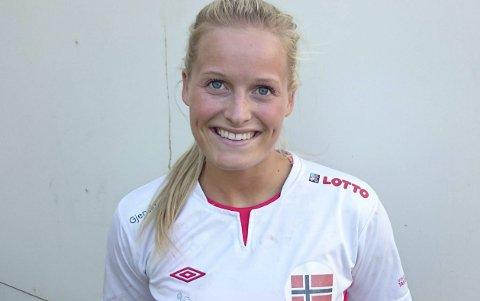 MØTTE FRANKRIKE: Marit Røsberg Jacobsen var med mot Frankrike og satte inn ett mål. Arkivfoto.