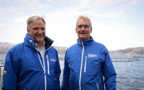 Ingen krise: Solide resultater fra tidligere år har gitt en god buffer for Ballangen sjøfarm. Det er Erik Sommerli og Ottar Bakke glade for.