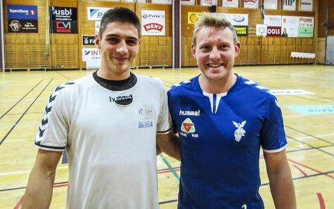 VELKOMMEN TIL OSS: Falk-kaptein Marius Kleiven (til høyre) kunne ønske Stjepan Knezic velkommen til trening i Holtanhallen mandag kveld.