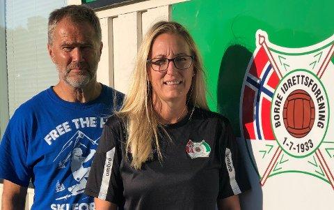 BORRE IF FOTBALL: Stein Erik Lauglo og Charlotte Nielsen har utarbeidet den praktiske gjennomføringen av nye koronaregler som skal gjelde utover høsten.