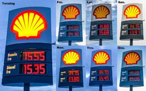Drivstoffprisene ved bensinstasjonen Shell Røyslimoen på Lillehammer, hver dag gjennom en hel uke.