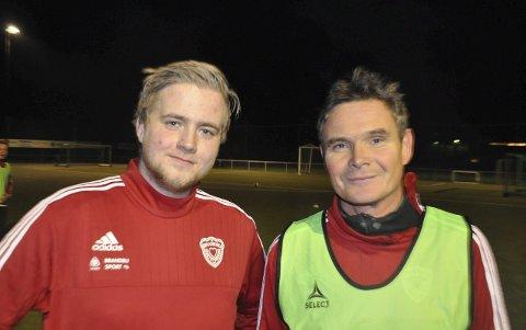 PRIMUS MOTORER: Spillende lagleder Amund Reidem (til venstre) og trener Paul Jorstad tar en ny sesong i Brandbu.
