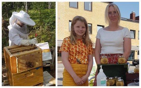 UNG RØKTER: Frida Fjerdingøy Hammerstad (10) fra Jevnaker jobber hardt med honningproduksjon, og imponerer sin tante Mette Bråthen (48).