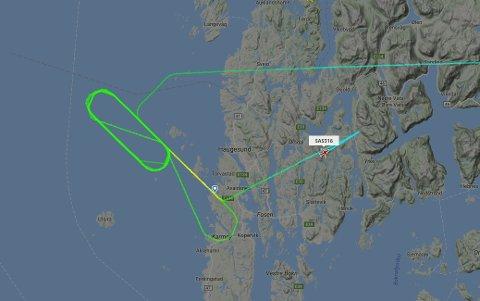 SAS-flyet satte kursen østover igjen etter en rekke runder nordvest for Karmøy.