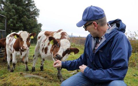 Tor Inge Eidesen, Senterpartiets gruppeleder i Haugesund, hjemme på gården på Hagland. Han kan bli noe så sjelden som en bonde fra Haugesund på Stortinget.