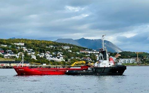 Slepebåten Borg Parat måtte «rygge inn» Dantic til kai i Harstad.