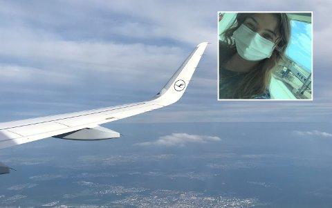 PÅ VEI HJEM: Eline Ødegård Egeland bar munnbind fra hun dro fra Fuerteventura til hun ankom Gardermoen.