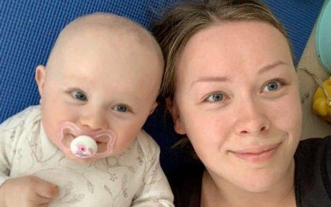 TILBAKE PÅ JOBB: Sofie Pedersen fra Laukvik skulle egentlig vært hjemme i mammapermisjon med Olivia. I stedet har hun nå meldt seg til tjeneste i helsevesenet.