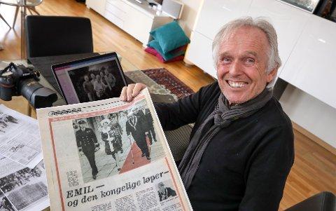 BLINKSKUDD: Fotograf Jan Larsen (70) tok det historiske bildet under byjubileet i 1970 der ordfører Emil Andersen går på den røde løperen, mens kronprins Harald og kronprinsesse Sonja må gå på steinhellene ved siden av.