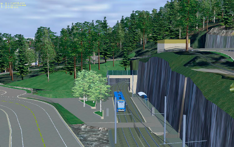 NY HOLDEPLASS: Ekebergparken holdeplass og søndre tunnelportal sett mot nord. Alle skisser: Oslo kommue