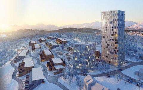 FOR HØYT: Kommunen mener de to blokkene på 30 og 70 meter vil bryte for kraftig med både landskap og øvrig bebyggelse