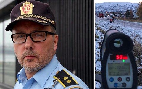 MINDRE MÅLRETTET: Hvis Utrykningspolitiet skulle inngå i ordinær vakt og beredskap, ville det bety mindre målrettet kontrollaktivitet, sier UPs distriktsleder Geir Marthinsen. Til høyre fra en skolevei-kontroll på Hansnes tidligere i år.
