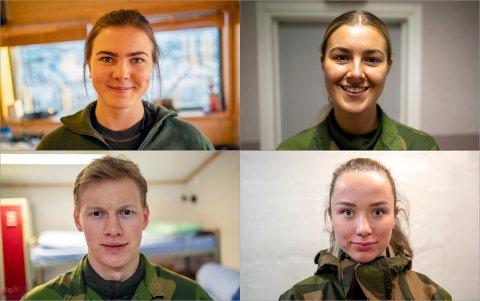 Oppe fra venstre: Marie Kals (19), Mathilde Maurud (23), Gabriel Ekeli Rydningen (21) og Linnea Røbech (21)-