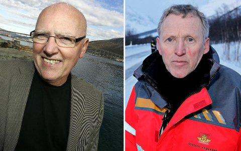 MEKTIG: Til lands og til vanns. Få er mektigere samferdselsmessig i Nord-Norge enn disse to. Begge nærmer seg 70. Fra høyre Regionvegsjef Torbjørn Naimak og havnesjef Halvar Pettersen.