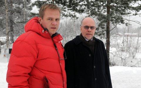 Stian Ryen (t.v.) og Per Tore Teksum i Vinger AS har satt opp forretningsbygg i snart halvparten av kommunene i Oppland og Hedmark. Nå har de byggeplaner i Hov.