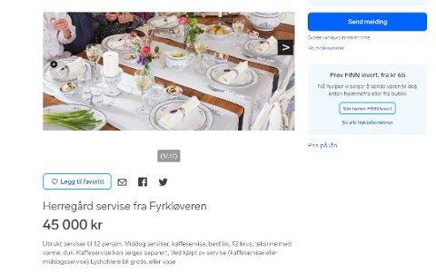OVER SNITTET: Porselensservise til 45.000 kroner til salgs på Finn.no.