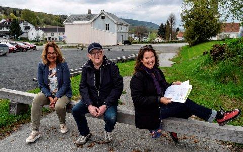 FLADSRUDTOMTA: – Dette blir ingen hvilken som helst lekeplass, men DEN lekeplassen, sier f.v. ordfører Anne Hagenborg, komitéleder Jon Odden og rådgiver Tone Gellein.