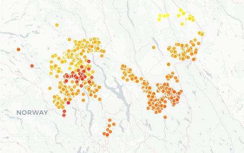 LYNNEDSLAG: Det ble registrert 1497 lynnedslag i løpet av tirsdagen.