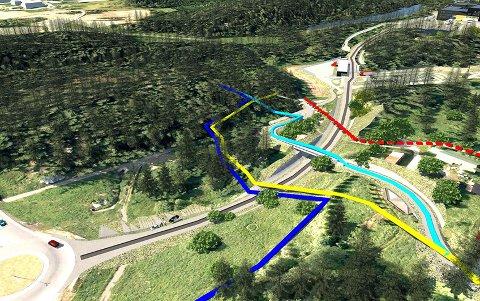 NYE TRASEER: Rød linje viser gammel turtrase fra Fløisbonnveien. Gul linje: Midlertidig omlagt turtrase. Mørk blå linje: Midlertidig omlagt skitrase. Lys blå linje: Fremtidig turvei- og skiløypetrase.