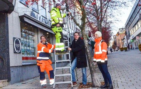 LENGRE PERIODE: De små lysene i Sigurdsgate har tidligere lyst i perioden når det har vært julegater. Nå skal de få lyse i minst tre måneder. Det lover (fra venstre) Trond Sjøblom, Aleksey Medvedev, Paal Espen Wingaard og Guro Hessner.