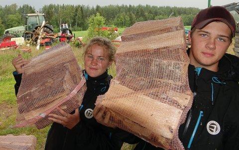 GÅR UNNA: Inger Johanne og Ola trives med vedproduksjonen.