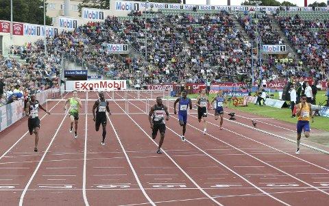 Stort: Diamond League på Bislett samler verdens beste friidrettsutøvere. Her fra fjorårets finale på 100 meter menn.
