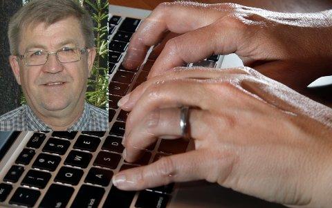 LANG RETTETID: Sverre Bakken (innfelt) er frustrert over å måtte gå lenge uten internettforbindelse.