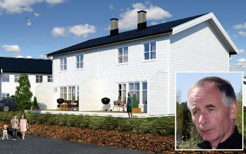 DEN ENESTE: Bare én tomannsbolig er ikke solgt  i boligområdet på Tyristrand, kan en fornøyd selger Øistein Blekkerud (innfelt) konstatere.