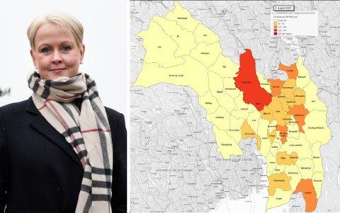 SAMMENSTILT: Statsforvalteren har sammenstilt smittebilde for alle kommunene i Viken. Ringerike er per 2. august det området med mest smitte i regionen. – For disse ukene hadde vi en andel positive prøvesvar på 8,4 prosent, forklarer fungerende kommuneoverlege Marthe Bergli.
