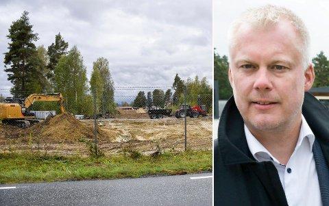 NY INNKJØRING: Her blir den nye innkjøringen til Helgelandsmoen næringspark, bekrefter Daglig leder Morten Pettersen i XPND. Det er selskapet som driver næringsparken.