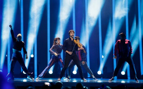 Alexander Rybak from Norway performs the song 'That's How You Write A Song' in Lisbon, Portugal, Thursday, May 10, 2018 during the second semifinal of the Eurovision Song Contest. The Eurovision Song Contest grand final takes place in Lisbon on Saturday May 12, 2018. (AP Photo/Armando Franca)