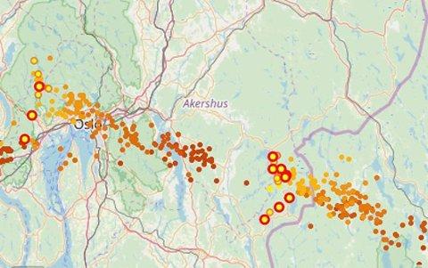 TREFFER ROMERIKE? På lightningmap .org kan man helt tydelig se at det er uvær på vei i retning Romerike. Så er spørsmålet hvor det treffer.