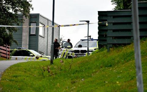 POLITIAKSJON: Politiet har flere bevæpnede patruljer på Skjetten etter at det skal ha blitt avfyrt flere skudd mot en bolig.