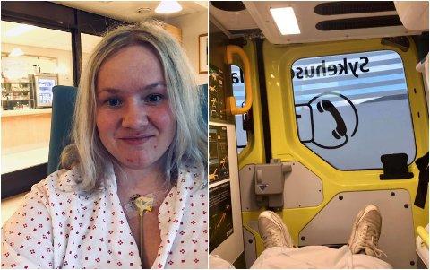 Therese Rudi på sykehuset på Lillehammer (t.v.). Til høyre: I ambulansen på veg til sykehuset.