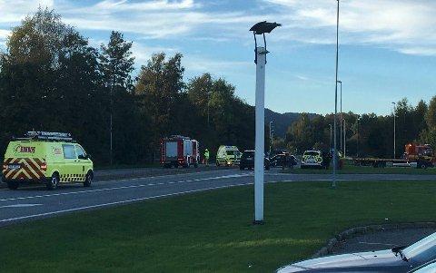 Kollisjon: Ulykken skjedde på Gamle Sørlandske ved bensinstasjonen YX.