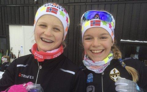 Fornøyde: Både Nora Doksrød (t.v.) og Karoline Wergeland Kvestad fra Runar gikk gode renn. Foto: Tone Bergene Aabrekk