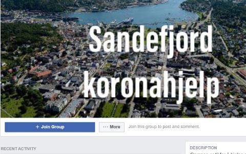 NY GRUPPE: Knappe 150 sandefjordinger har søndag formiddag meldt seg inn i denne Facebook-gruppa. Og trenger du hjelp, er det bare å ta kontakt med noen av dem som har meldt seg som hjelpere.
