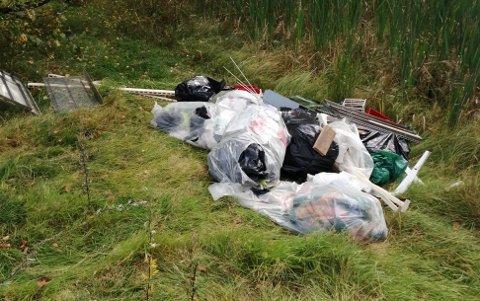 DUMPET: Midt på dagen søndag valgte en person å dumpe skrotet sitt i Haukerød Idrettspark.