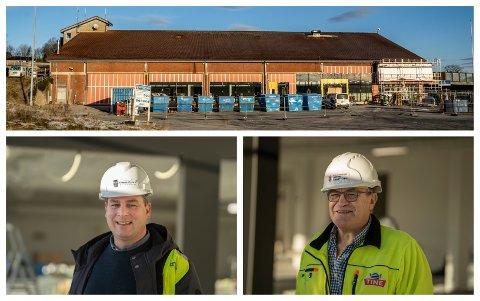 SATSAR: Brannstasjonen på Sandved blir dei nye lokala til NLM Gjenbruk Sandnes. Til høgre er styreleiar i selskapet, Terje Eggebø. Til venstre er Arnt Ove Berg, styreleiar i NLM Sandnesporten AS.