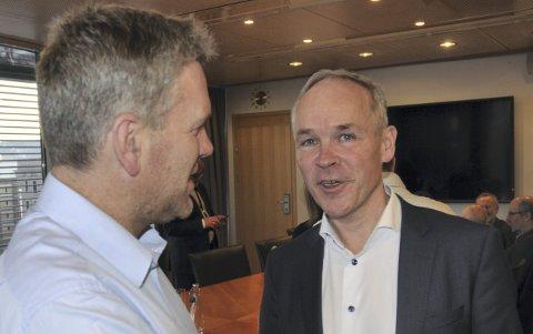 Beskjeden fra kommunal- og moderniseringsminister Jan Tore Sanner (H) ble godt mottatt av entreprenør Bent Aasli.