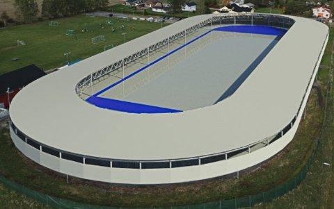 OMTRENT SLIK: Denne illustrasjonen gir et bilde av hvordan hallen i Båstad kan bli seende ut med tak over løperbanene.
