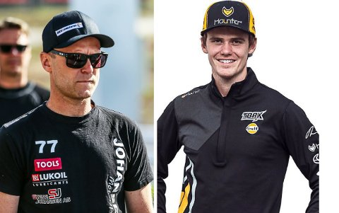 MØTES IKKE: Stene Johansen (t.v.) og Thomas Bryntesson skulle begge kjøre EM-runden i rallycross på Höljes i Sverige.  Nå stopper karantenerestriksjonene førstnevnte.