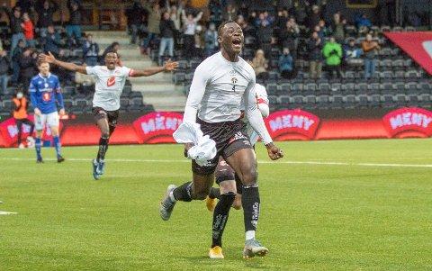 AUGNEBLINKEN: Jerome Akor Adams (20) har mista omtrent heile sesongen med skade, dermed blei oppturen ekstra stor då han sette inn 3–1 like etter at han entra bana mot Ranheim.