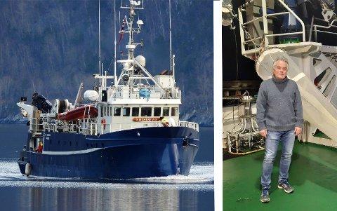 JAKTAR EGG: Biolog Jan Henrik Simonsen ved Havforskingsinstituttet og dei andre fagfolka ombord har samla fiske-egg i Sognefjorden denne veka.