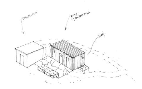Slik er toalettbygget ved sjøbadet på Myklebust planlagt seende ut.
