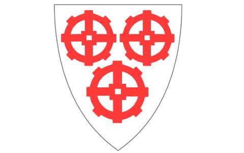 VANNHJUL: Det nåværende kommunevåpenet til Strand har tre vannhjul som symbol.