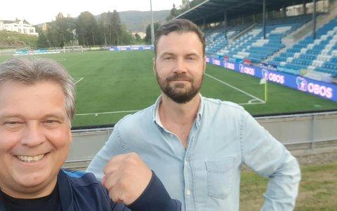FOR EN DAG: OBOS-Eddie (t.v) vil ha NFK tilbake på nivå to, og med god hjelp av Thomas Bjørnflaten har han forelsket seg i byen og klubben.