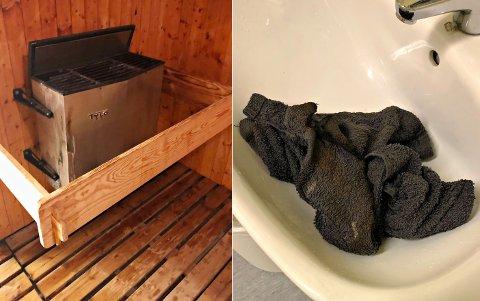 TOK FYR: Et håndkle som lå på badstueovnen gjorde at det begynte å brenne.
