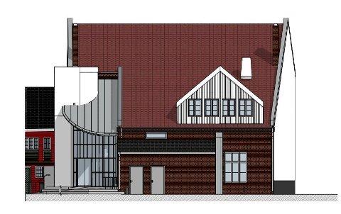 SLIK BLIR DET: Arkitektfirmaet Østre Linje har utarbeidet en tegning for det nye inngangspartiet på gymsalen.